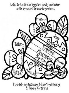 General Conference Coloring for kids - color the word that you hear - once filled up I'm going to let them pick a prize out of the prize bin.