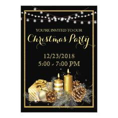 Gold Elegant Red Christmas Party Invitation - christmas cards merry xmas family party holidays cyo diy greeting card