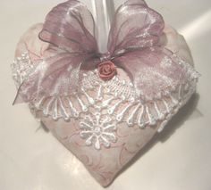 Pink Lavender Sachet Heart with Ribbon & Lace by RebeccasHearts, $11.50