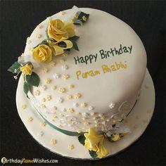 Punam bhabhi Birthday Cake Happy Birthday Mamu, Birthday Cake 30, Birthday Cake Write Name, Yellow Birthday Cakes, Birthday Cake Writing, Happy Birthday Wishes Cake, Birthday Cake For Husband, Happy Birthday Cake Images, Birthday Cake With Flowers