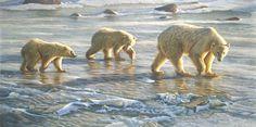 polar bears from Churchill Canada. A painting of Polar bears by wildlife artist Eric Wilson.