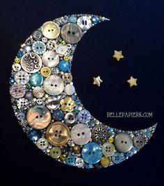 8x10 Button Art Crescent Moon and Stars Home Decor by BellePapiers