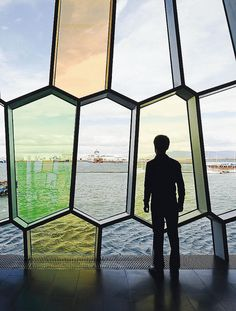 Glass facade by Olafur Eliasson on the Harpa Concert Hall and Conference Center in Reykjavik, Iceland.