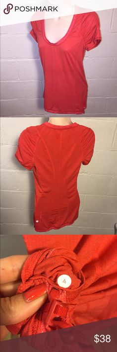 Lululemon red light shirt Great condition.  No stains, tears, or holes  •I bundle & discount bundles •If an item is higher than you want to pay, message an offer or favorite & wait for price to drop weekly.  •My mannequin is Xsm so sometimes items appear loose or I clip back for actual look/fit •Usually ships within 24 hrs and latest 48 hours unless otherwise noted.  •Some of my items are various sizes because I sell for sister as well. #lululemon lululemon athletica Tops Muscle Tees