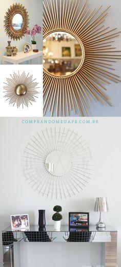 Sun Mirror   Espelho Sol para complementar o aparador espelhado na sala de jantar