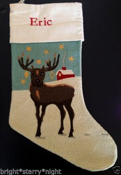 Pottery Barn Crewel Embroidered Christmas Stocking Reindeer Eric Deer Blue New | eBay