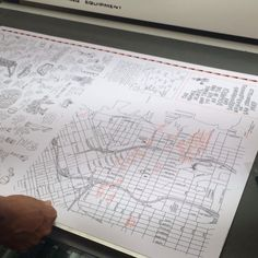 """Len Biss printed Jason Polan's """"things do do and see in Dogpatch and surrounding neighborhoods map"""" #jasonpolan #workshopresidence"""
