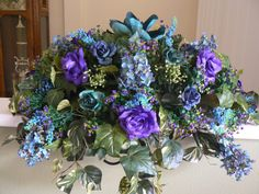 Cemetery/Memorial Saddle for Headstone/Gravestone Flowers. $80.00, via Etsy.