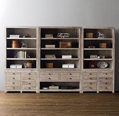 Weller Wide Media Storage Wall Set, Wide Bookcase Tops