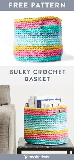 Crochet basket 800444533752070369 - This Bulky Crochet Basket is one of Jonah's Hands' favorite Yarnspirations patterns! It is a super versatile and structured basket, perfect for stashing your go-to yarns. Source by graceandyarn Crochet Home, Crochet Gifts, Crochet Yarn, Hand Crochet, Free Crochet, Crochet Basket Pattern, Crochet Patterns, Crochet Baskets, Crochet Ideas