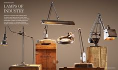 love the industrial inspired lighting collection from rh