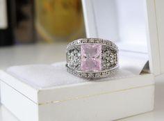 Victoria Wieck Sterling Silver 925 Pink Topaz CZ Bridge Bridge Ring Size 6 #VictoriaWieck #SolitairewithAccents