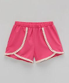 Look at this #zulilyfind! Fuchsia Tulip Trim Shorts - Girls by Mattina #zulilyfinds