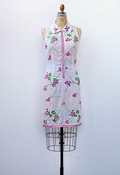 vintage 1960s sheer embroidered dress