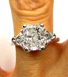2.72ct Estate Vintage Radiant Cut Diamond EGL USA 3 stone Engagement Wedding Anniversary Ring in Platinum