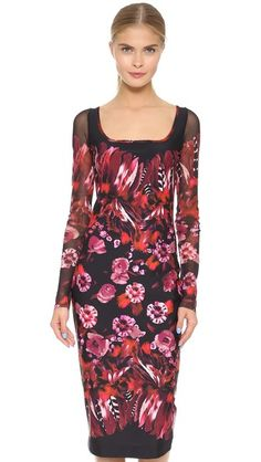 Fuzzi Long Sleeve Printed Dress
