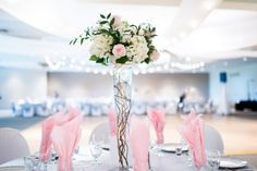 Conservative Jewish Congregational Wedding//floral centerpiece_jewish wedding reception