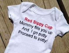 Baby Onesie Red Sippy Cup Funny Baby Shower by nikkiscreations2011, $10.00