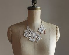 ivory lace necklace PIPPA boho bridal necklace off от whiteowl