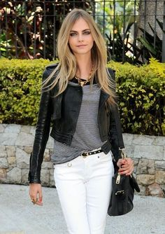 Cara Delevingne. Cropped leather #fashionweek