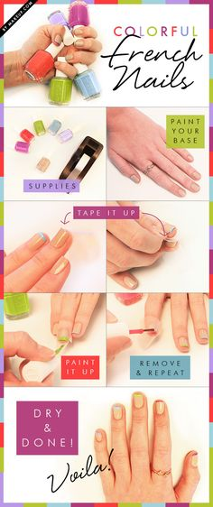 Colorful french tips manicure tutorial