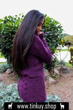 Womens Red Cardigan Knit Sweater Medium M Peruvian Alpaca Wool TINKUY PERU