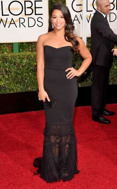 Gina Rodriguez keeps it simple in this Badgley Mischka number. We're obsessed with the detailing at the bottom!