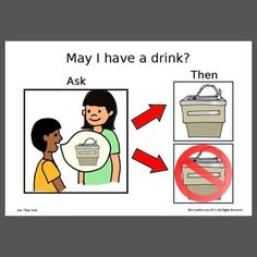 Here is a one page picture of a visual that depicts a boy asking for a drink from the water fountain. This visual may be used as a cue to 1. ask for a drink, and 2. listen for the answer. Some ch...