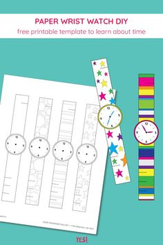 Wondering how to teach your kids about time? Get this wrist watch coloring template and make a paper watch in your favorite colors! Paper Crafts For Kids, Easy Crafts For Kids, Projects For Kids, Diy For Kids, How To Make Watch, Watch Diy, Letter W Crafts, Coloring Pages For Kids, Coloring Books