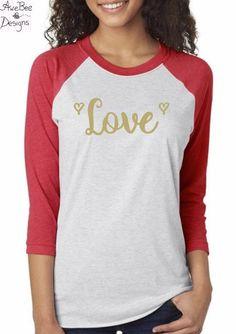 Happy Valentine's Day Love Raglan Baseball Style T Shirt
