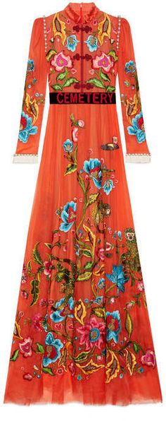 0629e2ba44f Embroidered silk gown with fur