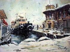 Istanbul, Winter Painting, Turkish Art, Caravaggio, Art Studies, Claude Monet, Brigitte Bardot, Vintage Paper, Watercolor Art