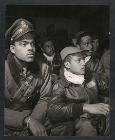 Tuskegee Airmen-- Members of the 332nd Fighter Group attending a briefing in Ramitelli, Italy, 1945.