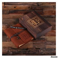 Personalized Brown Felt Journal, Pen and Wood Box
