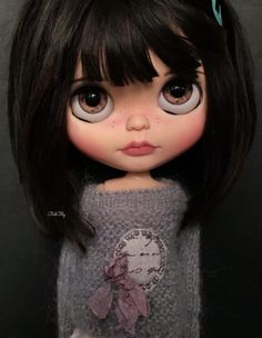 Hie everyone 😊 This is Nebet my latest blythe custom Hope you like her ADOPTED Ooak Dolls, Blythe Dolls, Art Dolls, Pretty Dolls, Beautiful Dolls, Crea Fimo, Black And White Ribbon, Cute Cartoon Girl, Doll Clothes Barbie