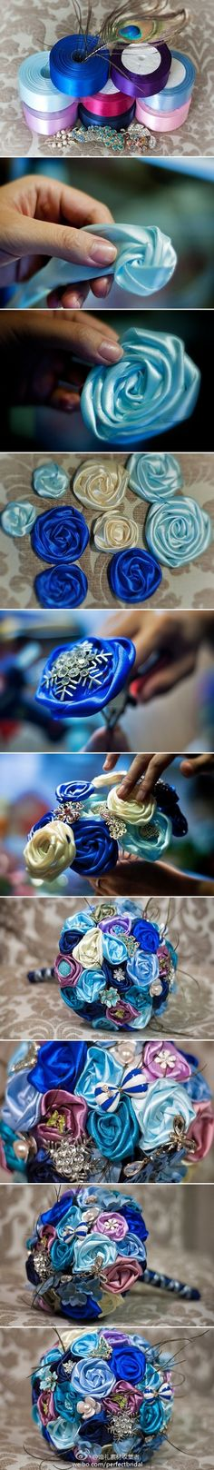 Handmade Ribbon Bridal Bouquet