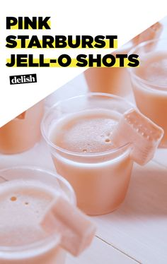 Starburst Jell-O Shots If you're OBSESSED withh Pink Starburst, just wait until you try these Jello-o shots. Get the recipe at Delish.If you're OBSESSED withh Pink Starburst, just wait until you try these Jello-o shots. Get the recipe at Delish. Cocktails Vodka, Cocktail Drinks, Jello Shot Recipes, Alcohol Drink Recipes, Party Shots Alcohol, Party Drinks, Fun Drinks, Mixed Drinks, Alcoholic Drinks