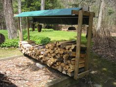 Furniture, Build A Simple DIY Outdoor Firewood Storage Shed Using Reclaimed Wood And Blue Tarpaulin Cover Ideas ~ Firewood Storage Rack