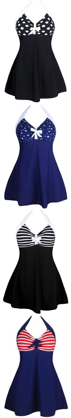 The High Quality Vintage Sailor Pin Up Halter Swim dresses have an empire waist that is designed to highlight your bust while the fabric flows away from your body instead of clinging to it. This babydoll style bathing suit is perfect for hiding imperfections around your waist and thighs. If you're drawn to retro styles, you'll love these vintage-inspired style swimsuits, it make you you look like a true pin-up.