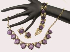 Coro Purple Thermoset Necklace Bracelet and by serendipitytreasure