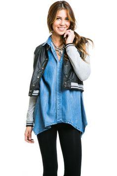 Snug Pleather Varsity Jacket in Black, Small Solemio,