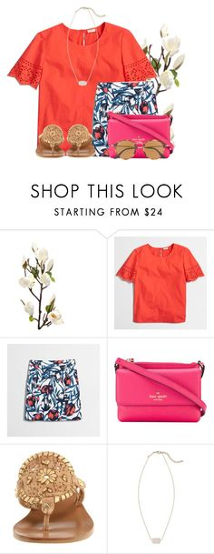 """""""~Getting ready to go to bible study~"""" by flroasburn ❤ liked on Polyvore featuring J.Crew, Kate Spade, Jack Rogers, Kendra Scott and Ray-Ban"""