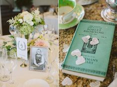 The Chanler Cliffwalk Wedding. Blush. Green. Vintage decor and flowers. Photo by Rebecca Arthurs.