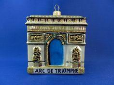 Arc de Triomphe of Paris, France. Glass Christmas ornament made for Vintage Treasures Ornaments
