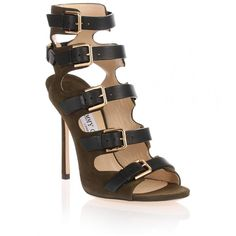 Jimmy Choo Trick Army Green Suede Sandal ($1,085) ❤ liked on Polyvore featuring shoes, sandals, green, high heeled footwear, jimmy choo shoes, green stilettos, one strap sandals and stiletto sandals