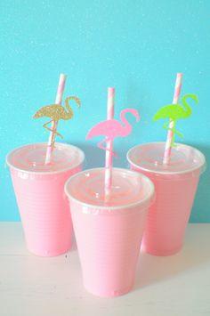 Flamingo straws ,Luau paper straws, Luau party, summer party, paper straws, straws, Luau party decor, Flamingle party by SmashCaked on Etsy