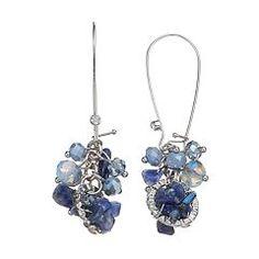 Simply Vera Vera Wang Blue Beaded Cluster Drop Earrings