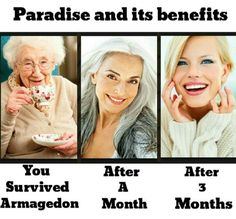Paradise Benefits. Who knows how long it will take? Only that Jehovah will give us all we want and need at the right time!
