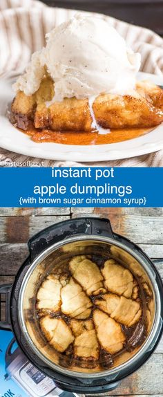 Instant Pot Apple Dumplings are ready in under 30 minutes! This easy apple dumpling recipe uses crescent rolls and a brown sugar, cinnamon, apple cider syrup to make a quick dessert that tastes like fall. Instant Pot Apple Dumplings {Pressure Cooker Apple Dessert Recipe} via @tastesoflizzyt
