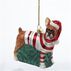 Pack of 6 Noble Gems Festive Boxer Puppy Dog Glass Christmas Ornaments 3.5